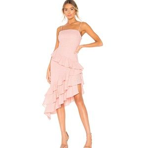 NBD Enrique Pink Eyelet Tiered Ruffle Dress